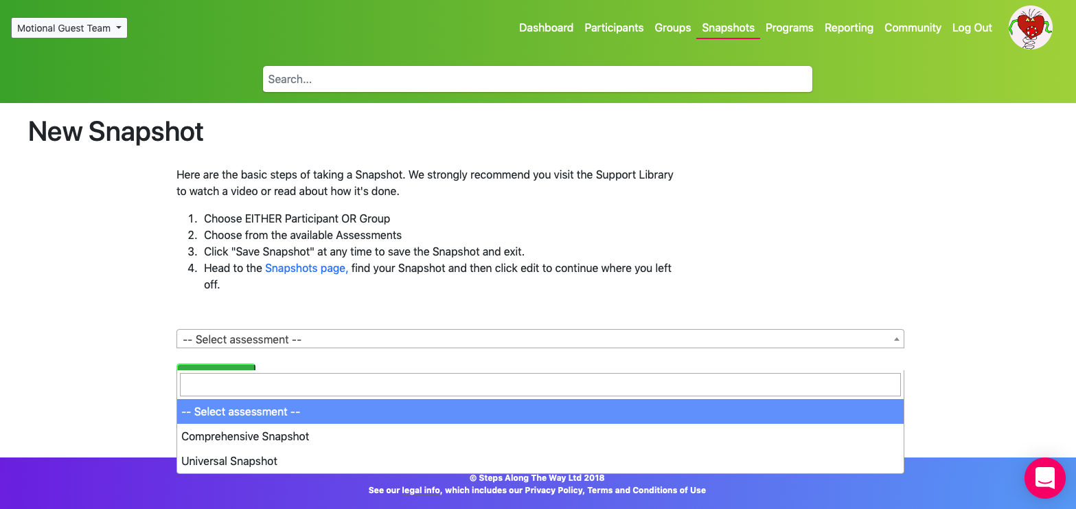 Screen Shot showing the Select Assessment page