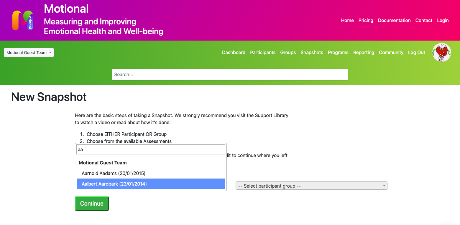 Screen Shot showing the Select Participant page