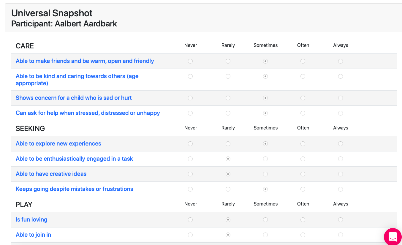 Screen Shot showing Snapshot results answers