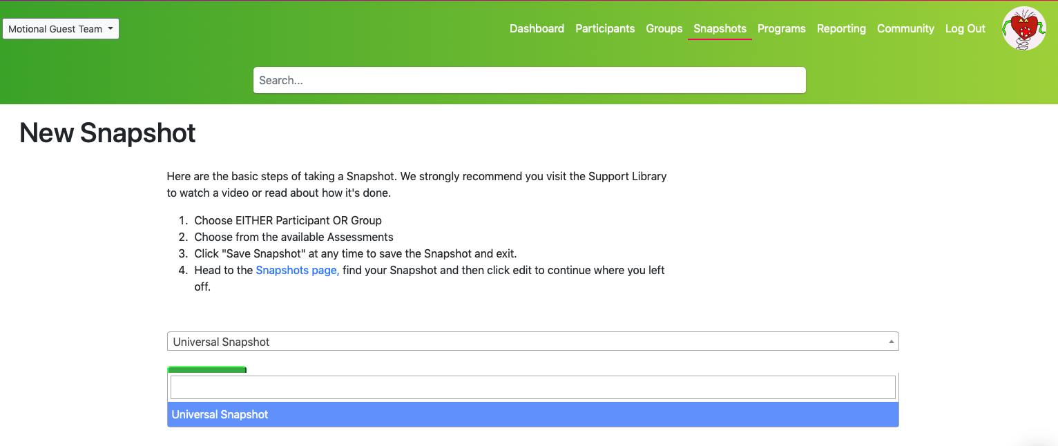 Group Snapshot - select assessment type